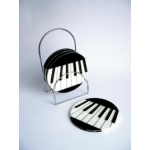 Ceramic Coasters Keyboard Set of 4 with Stand