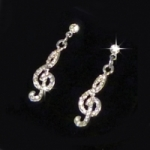 Earrings Treble Clef Design with Crystal