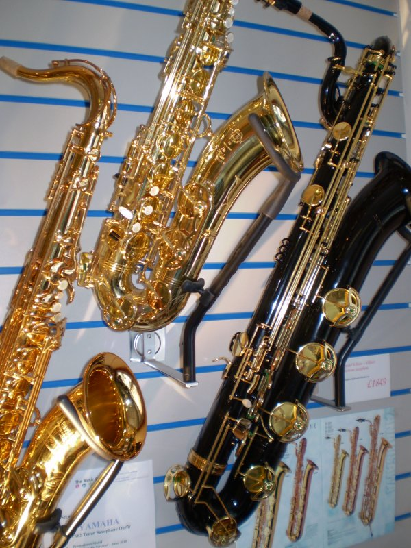 Saxophone Display at The Music Cellar